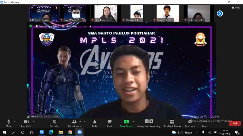 VIRTUAL MPLS Peserta Didik Baru Tahun Ajaran 2021/2022 SMA SANTO PAULUS PONTIANAK