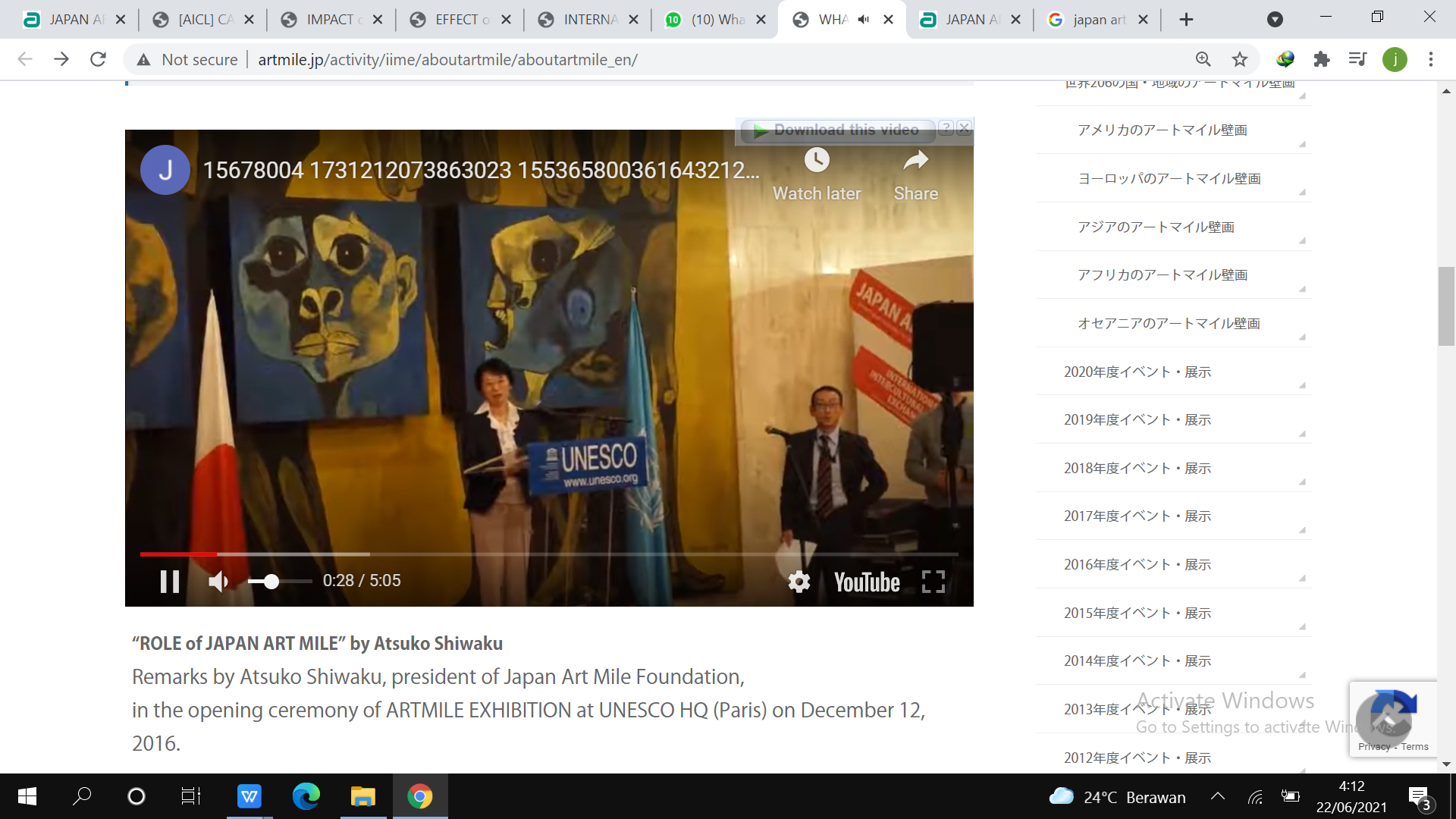 Kata sambutan oleh Atsuko Shiwaku, Presiden Japan Art Mile Foundation, pada acara pembukaan pameran ARTMILE di markas besar UNESCO di Paris, 12 December 2016 (dokumentasi Youtube)